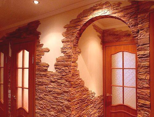 Znakomita Obróbka Przedpokoju Z Ozdobnym Kamieniem I Tapetą